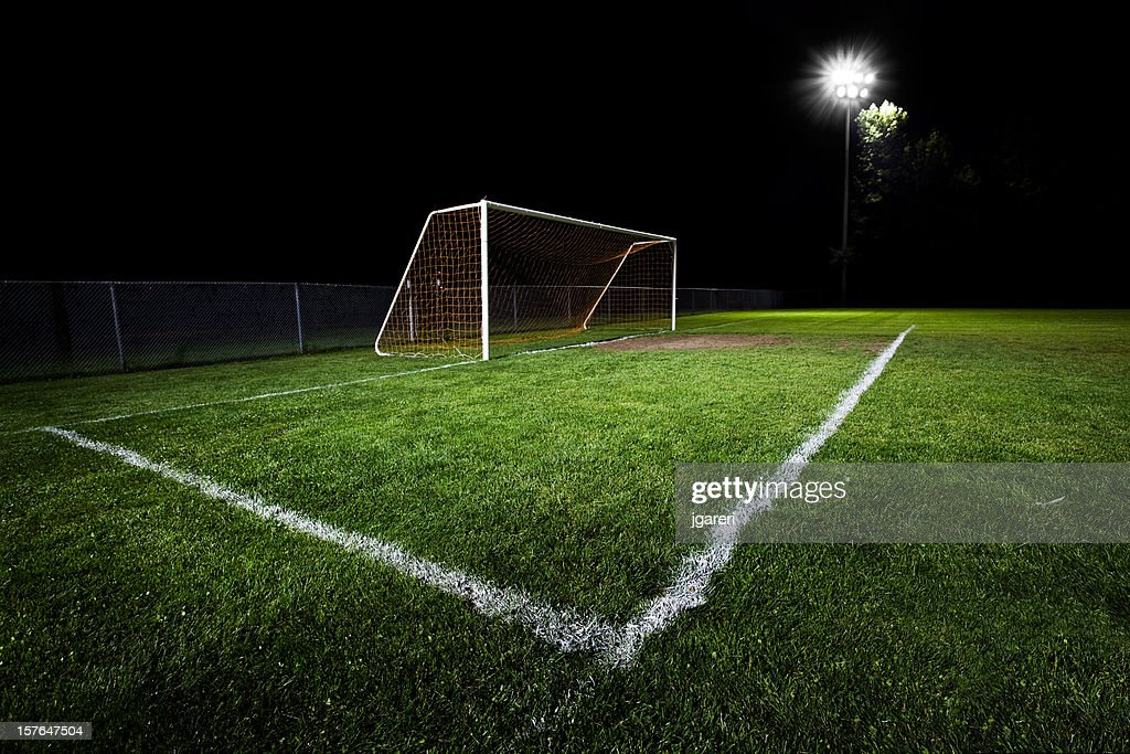 Closeup Of The Goalpost In A Soccer Field At Night Stock ...