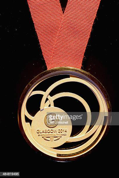 A closeup of the gold medal is seen during the Commonwealth medal ceremony unveiling at Kelvingrove Art Gallery and Museum on April 14 2014 in...