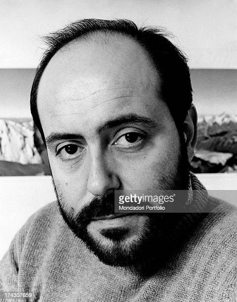 Closeup of the Italian stylist Elio Fiorucci who looks at the camera with a serious gaze Milan 1971