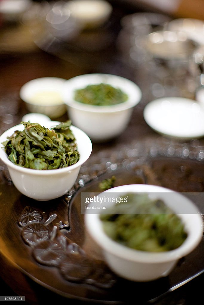 Close-up of the KungFu tea leaves : Stock Photo