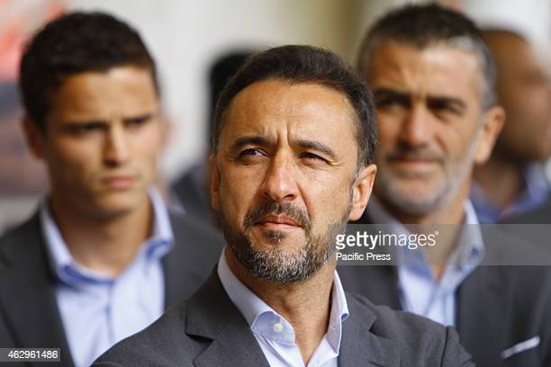 STADIUM PIRAEUS ATTICA GREECE Closeup of the manager of Olympiacos Vítor Pereira Hundreds of fans and official came to the Karaiskakis Stadium to...