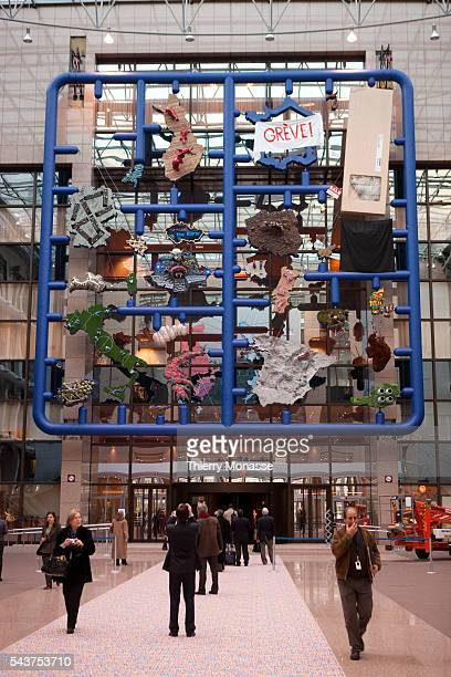 A closeup of the massive 'Entropa' exhibit which is suspended above the foyer entry to the main EU Council building in Brussels shows the part...