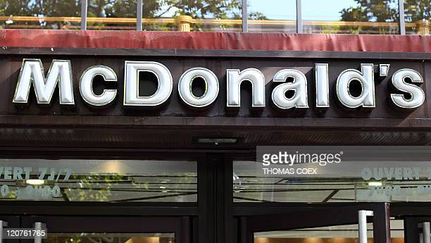 Closeup of the McDonald's logo taken on September 25 2010 on the frontage of the McDonald's restaurant at the ChampsElysees Avenue in Paris AFP PHOTO...