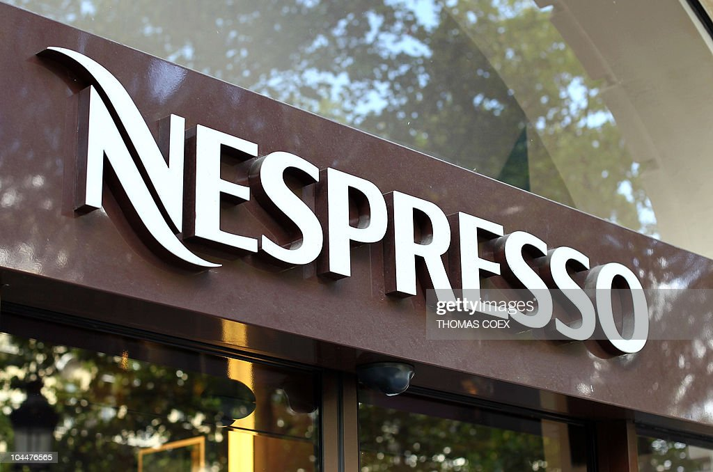 close up of the nespresso logo taken on september 25 2010 on the pictures getty images. Black Bedroom Furniture Sets. Home Design Ideas