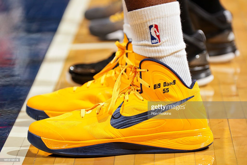 A close-up of the Nike sneakers worn by Roy Hibbert #55 of the Indiana Pacers during a game against the Brooklyn Nets on February 11, 2013 at Bankers Life Fieldhouse in Indianapolis, Indiana.