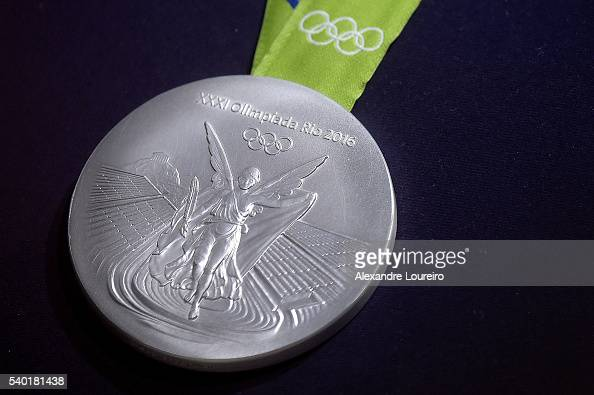 A closeup of the Olympic silver medal during the Launch of Medals and Victory Ceremonies for the Rio 2016 Olympic and Paralympic Games at the Future...