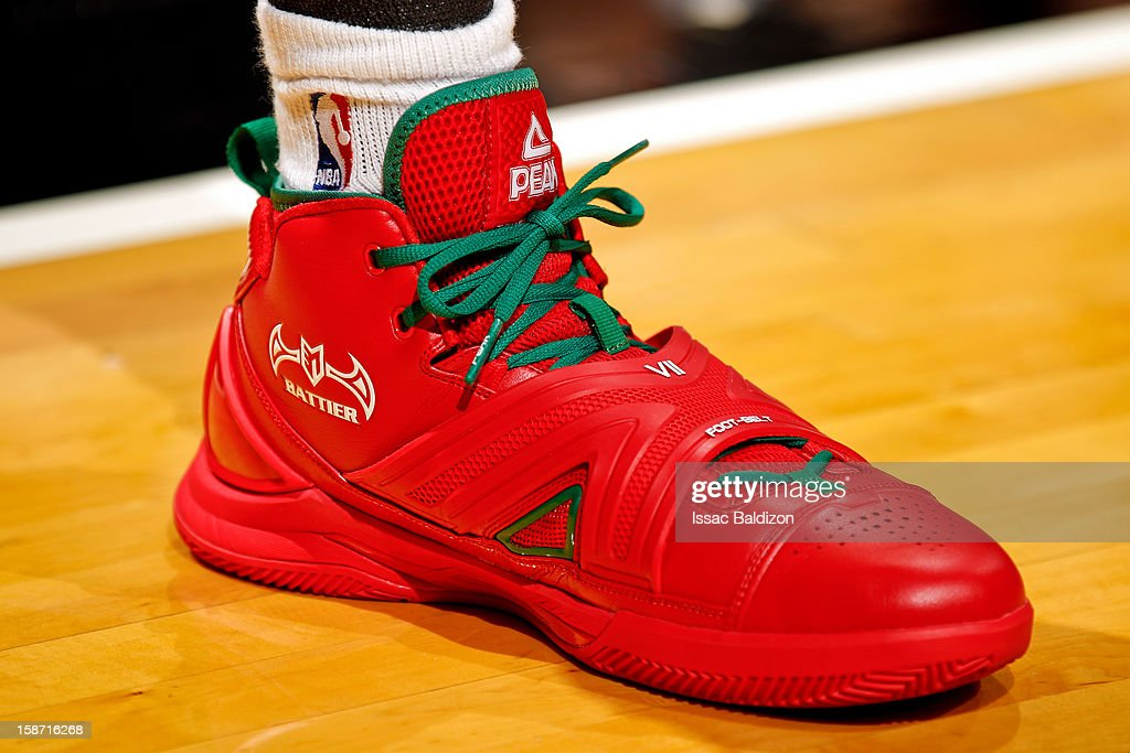 A close-up of the PEAK sneakers worn by Shane Battier #31 of the Miami Heat before playing against the Oklahoma City Thunder in a Christmas Day game on December 25, 2012 at American Airlines Arena in Miami, Florida.