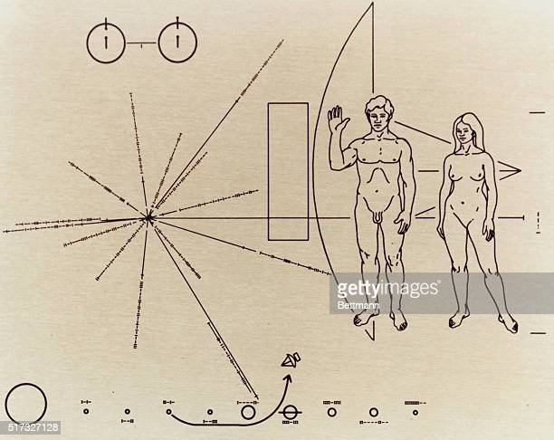 Closeup of the plaque placed inside the Pioneer 10 space probe prior to launch indicating among other things the location of planet Earth and the Sun...