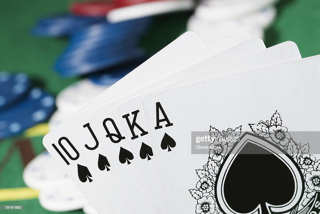 Close-up of the poker of spades