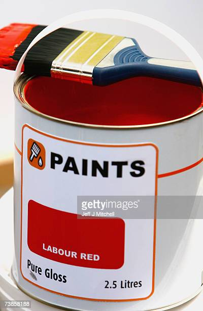 A closeup of the pot of paint on show as David Cameron Leader of the Conservative Party campaigns at a paint shop on April 11 2007 in Perth Scotland...