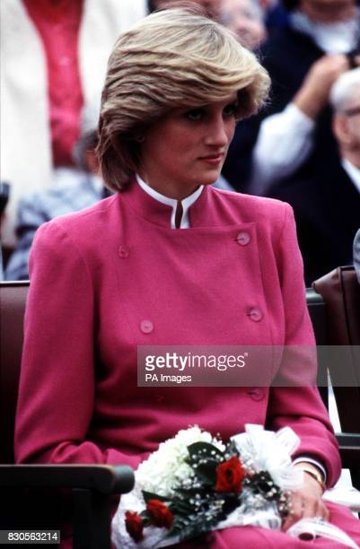 A closeup of the Princess of Wales during a visit to Montague on Prince Edward Island Canada She is wearing a cerise pink tunic jacket with...