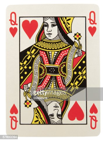 close-up of the queen of hearts playing card