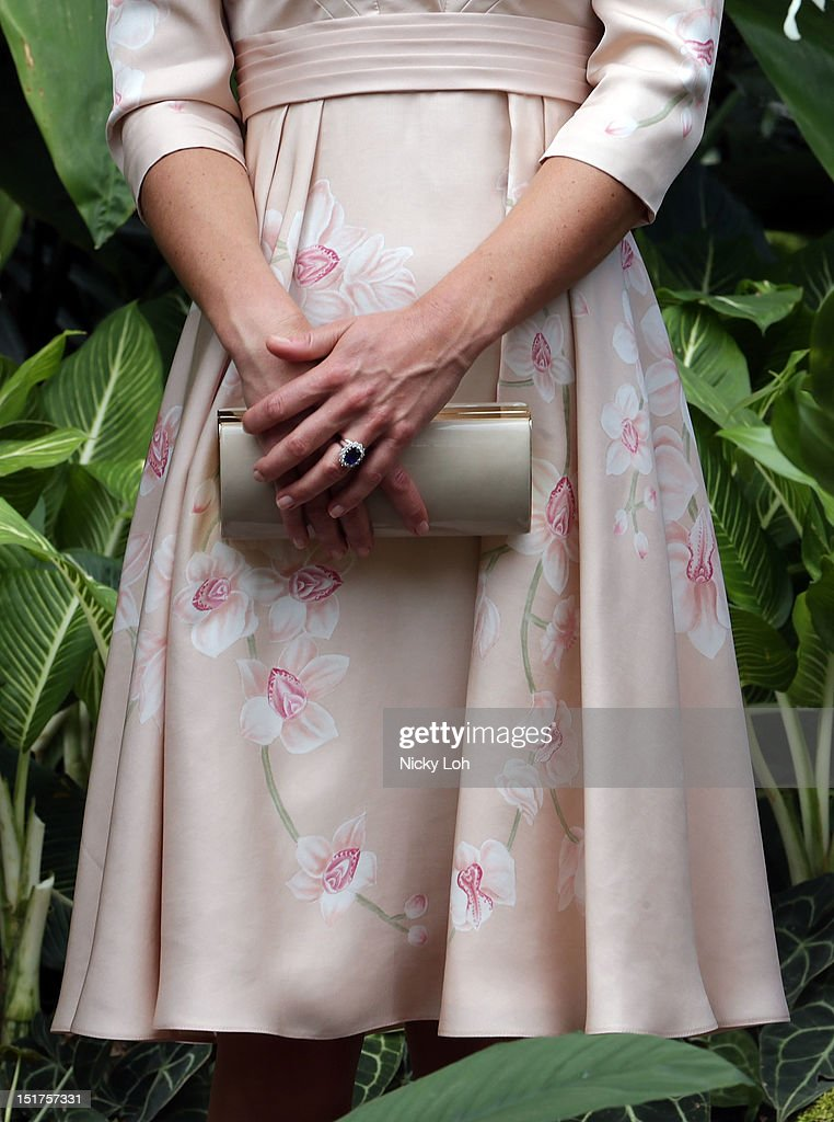 Closeup of the ring and handbag of Catherine, Duchess of Cambridge during her Diamond Jubilee tour at the Singapore Botanic Gardens on September 11, 2012 in Singapore.
