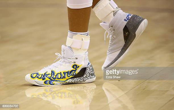 A closeup of the shoes that Stephen Curry of the Golden State Warriors wore during their game against the New York Knicks at ORACLE Arena on December...