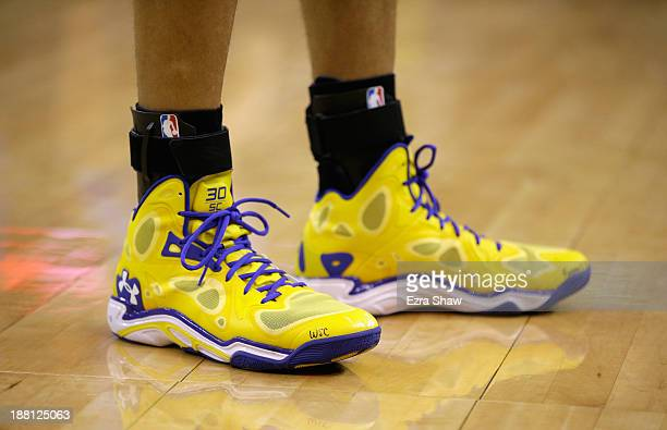 A closeup of the shoes worn by Stephen Curry of the Golden State Warriors during their game against the Oklahoma City Thunder at ORACLE Arena on...