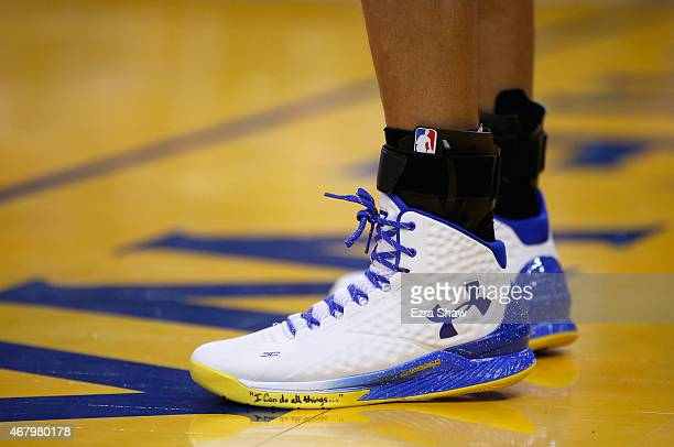 A closeup of the shoes worn by Stephen Curry of the Golden State Warriors during their game against the Atlanta Hawks at ORACLE Arena on March 18...