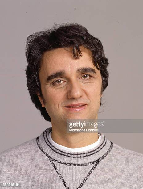 Closeup of the singer and keyboard player member of Italian band 'Stadio' Gaetano Curreri posing for a photoshooting 1988