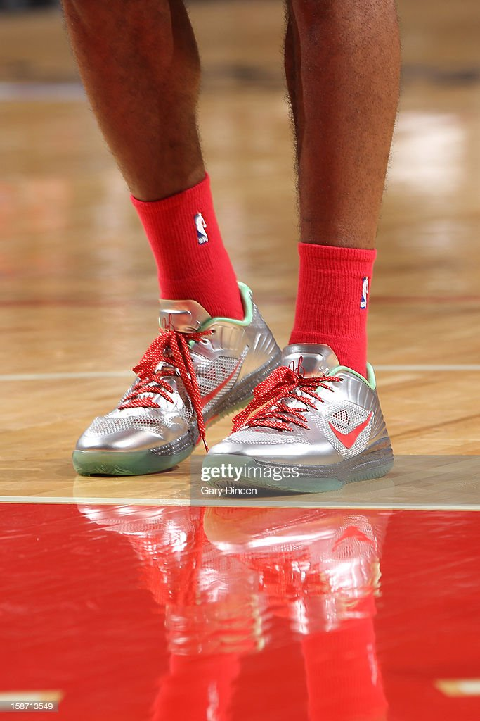 A close-up of the special holiday Nike sneakers of James Harden of the Houston Rockets during a Christmas Day game against the Chicago Bulls on December 25, 2012 at the United Center in Chicago, Illinois.
