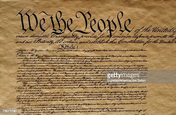 Close-up of the United States Constitution