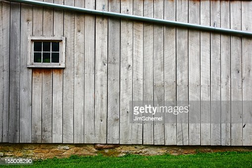 Close-up of the wood on the side of the barn
