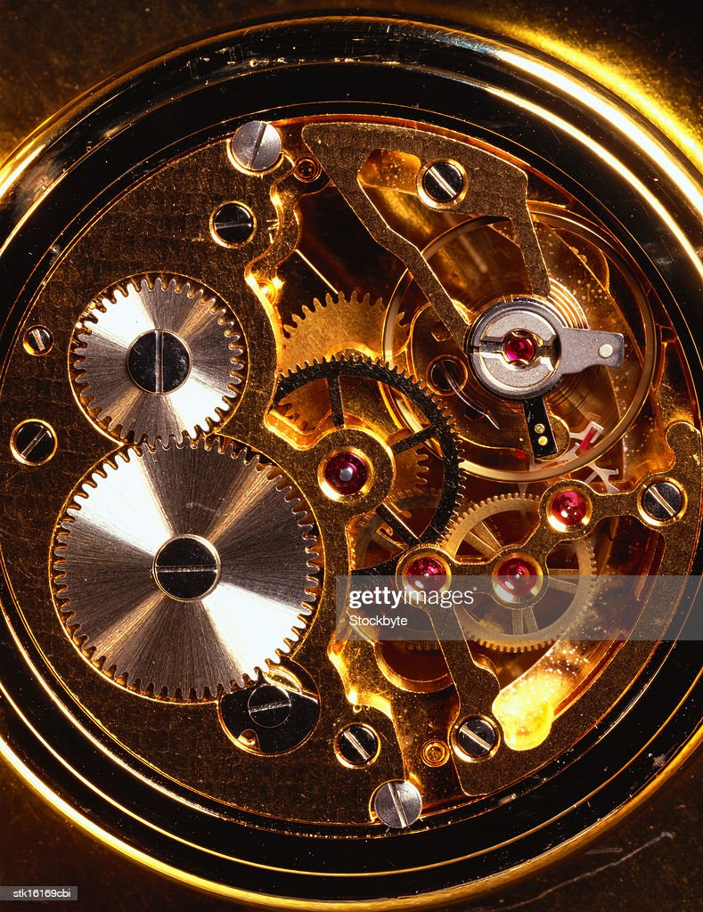 close-up of the workings of a wristwatch : Stock Photo