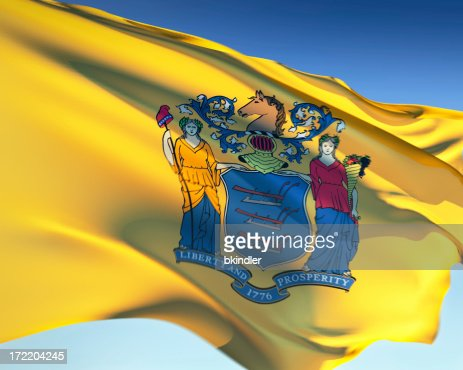 Close-up of the yellow flag of New Jersey