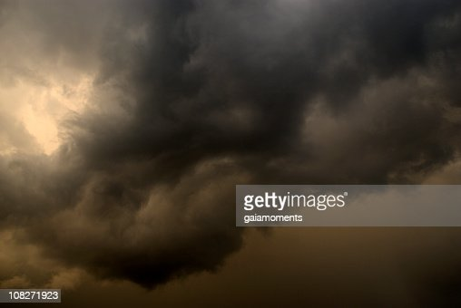 Close-up of thick clouds forming a storm at dusk : Stock Photo