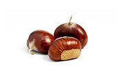 Small group of Chestnut with peel on white background