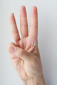 Cropped view of person raising three fingers up. Isolated front view on grey background.