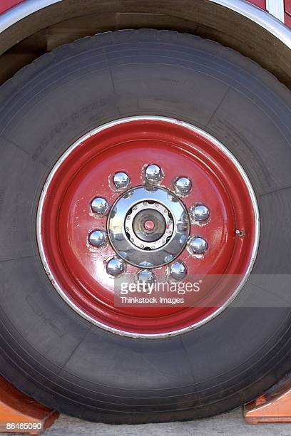 Close-up of tire and wheel of fire truck