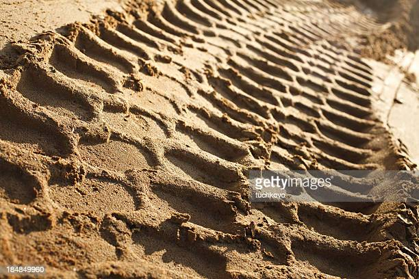 Close-up of tire tracks through wet sand