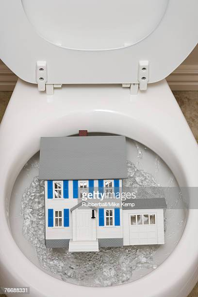 Close-up of toilet with toy house