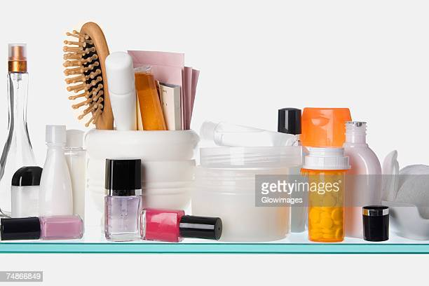 Close-up of toiletries on a shelf