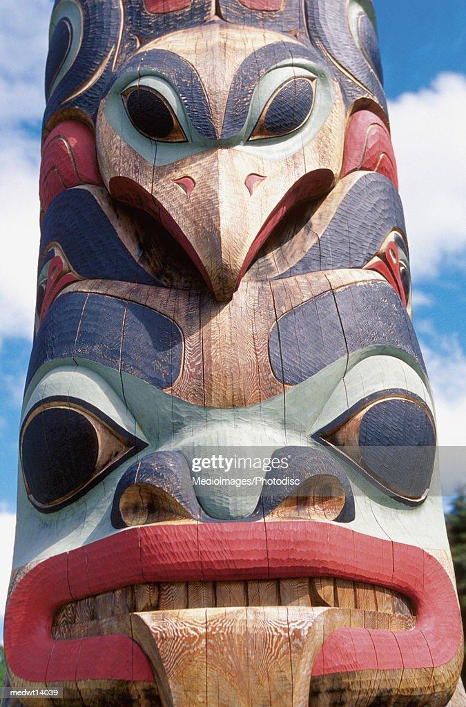 Close-up of totem pole in Sitka, Alaska, USA