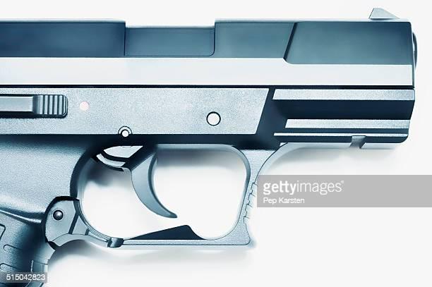 Close-up of trigger and barrel of a handgun