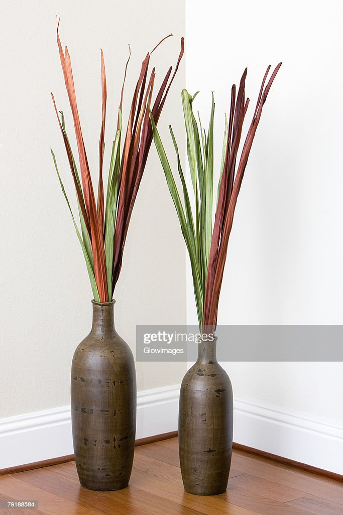 Close-up of two decorative urns : Foto de stock