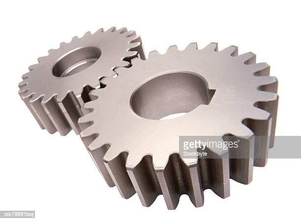 close-up of two gear wheels connected