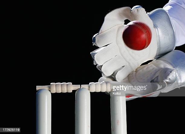 A close-up of two gloved hands catching a wicket ball