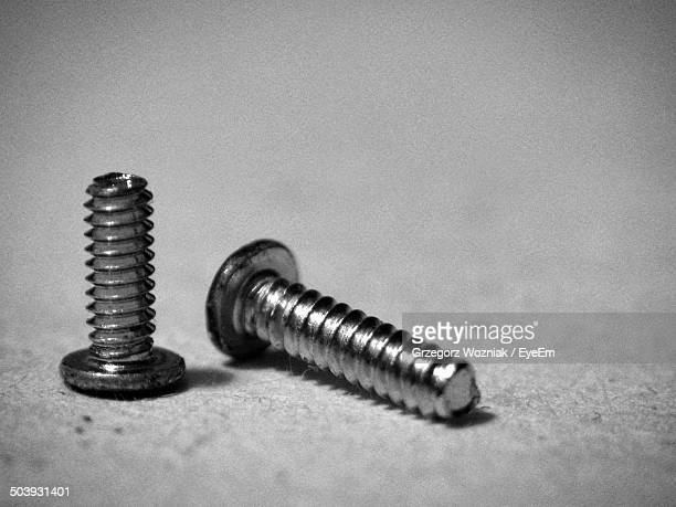 Close-up of two screws