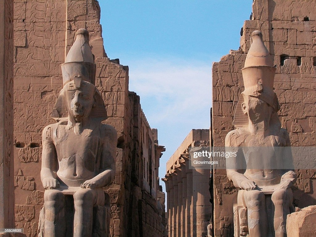 Close-up of two statues in a temple, Temple Of Luxor, Luxor, Egypt : Stock Photo