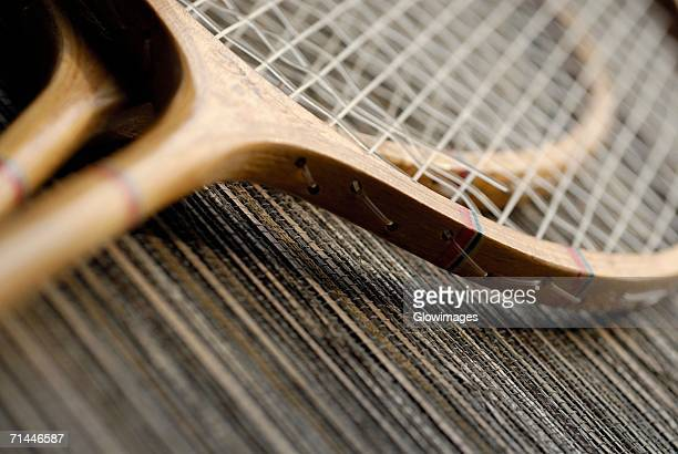 Close-up of two tennis rackets