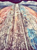 Close-Up Of Upside Down Weathered Boat