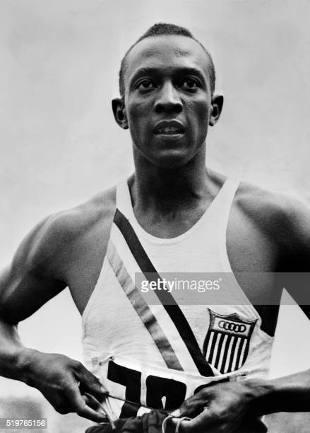 Closeup of US champion 'Jesse' Owens during Olympic Games in Berlin August 1936 where he captured 4 gold medals 100m 200m 4x100m and long jump...