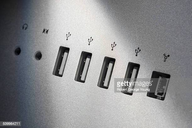 Close-up of USB and other computer ports