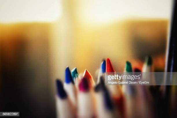 Close-Up Of Various Colored Pencils