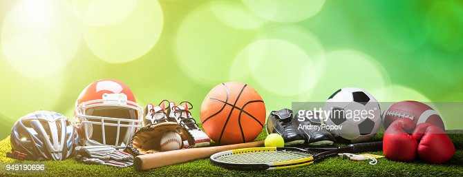 Close-up Of Various Sport Equipments On Pitch : Foto stock