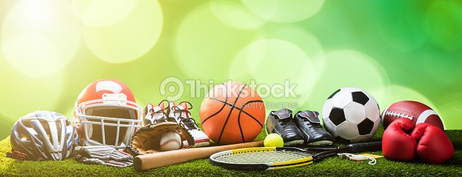 Close-up Of Various Sport Equipments On Pitch : Stock Photo