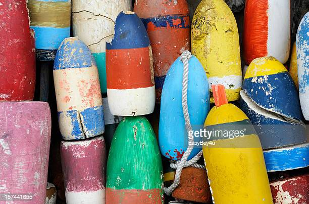 Closeup of very colorful fishing buoys