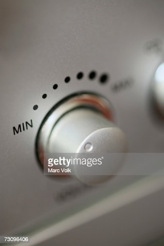 Close-up of volume control on stereo