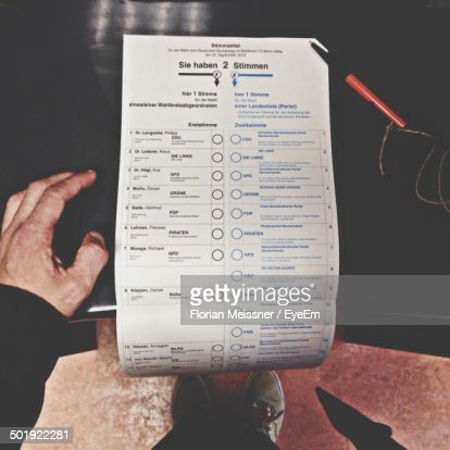 Close-up of voting ballot paper